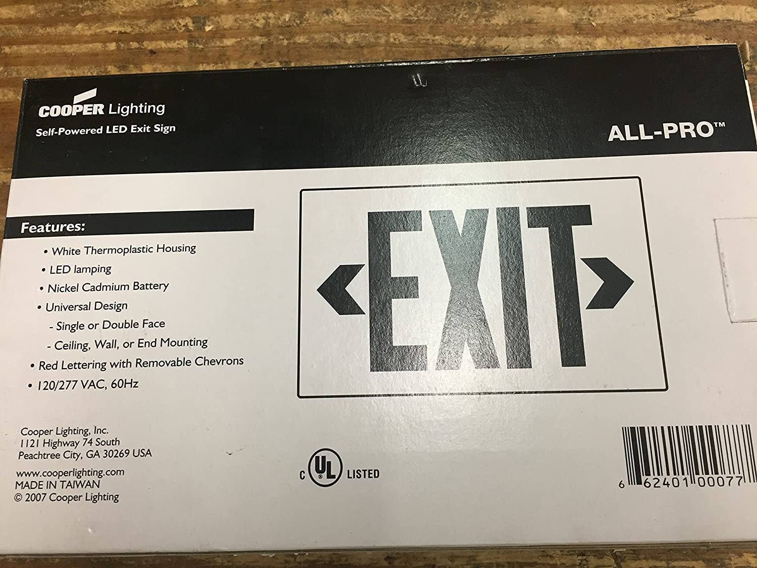 Cooper Lighting APX7R All Pro Series Self Powered LED Exit Sign with Battery Backup White Housing Red Letter 120/277 Volt Sure-Lites Commercial Lighted ... & Cooper Lighting APX7R All Pro Series Self Powered LED Exit Sign with ...
