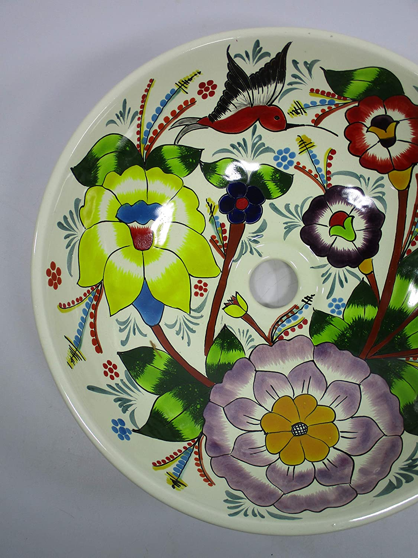 folk art 14 round TALAVERA VESSEL SINK Mexican handmade ceramic bathroom basin