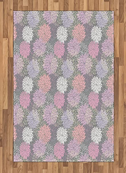Amazoncom Ambesonne Pink And Grey Area Rug Blossom Bouquet