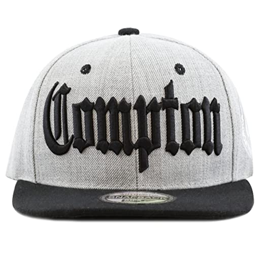 89b5988b6ce THE HAT DEPOT 1300B Premium Quality Compton 3D Embroidered Heather Grey Snapback  Hat (Black)