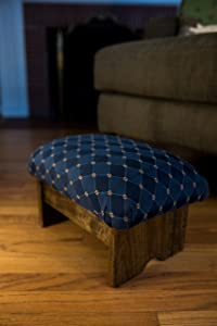 "KR Ideas Padded Foot Stool 9"" Luxury Fabrics (Made in The USA) (Rhapsody in Blue- Walnut Stain)"