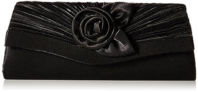 e958a385f02 Damara Women's Satin Pleated Flower Front Evening Bag Clutch Handbag  (Black)(Size: