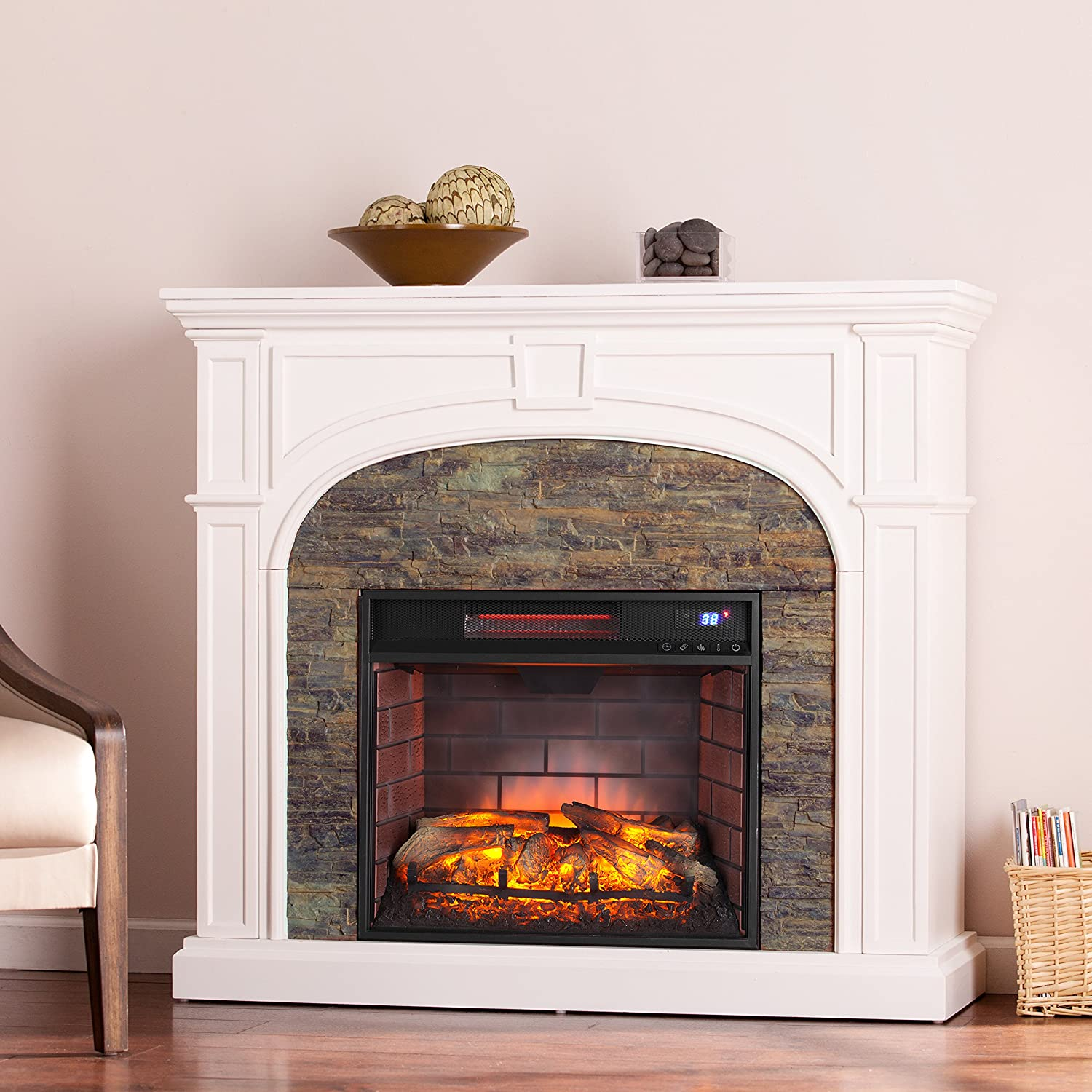 Timothy Faux Stone Infrared Electric Fireplace, White By SEI