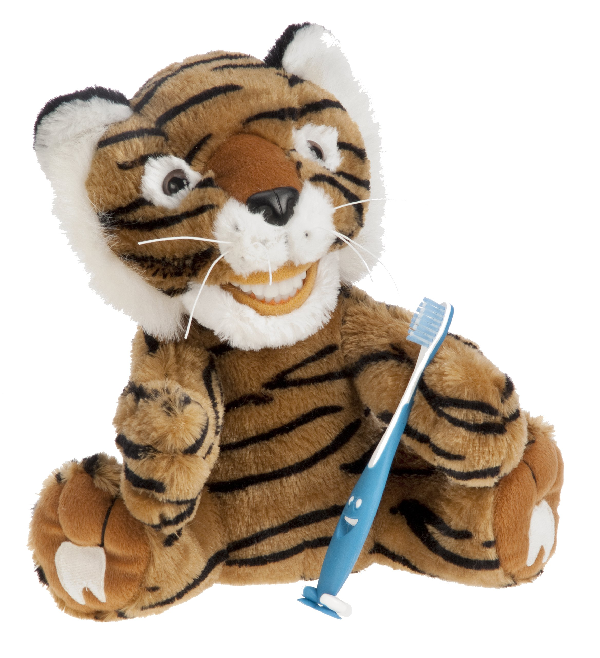 StarSmilez Kids Tooth Brushing Buddy Lil Tango Tiger - Plush Dental Education Helper - Teach Children flossing and Overall Care for Mouth and Teeth