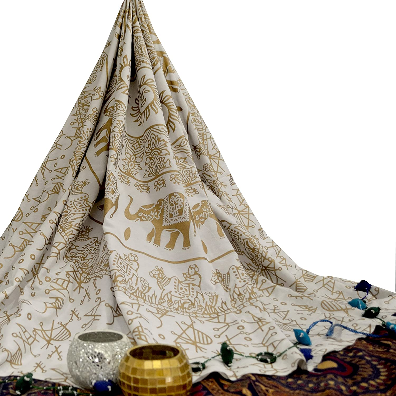 Oro blanco elefante Mandala tapiz colgante de pared Hippie bohemio indio colcha de pared Arte Tama/ño de la Reina ropa de cama para dormitorio medall/ón Yoga Meditaci/ón manta de Picnic propagaci/ón Boho Gypsy dormitorio decoraci/&oa