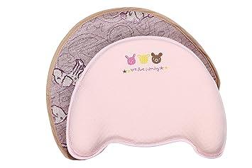 4c9a105619fa5 Mysterieux ベビー 枕 赤ちゃん まくら 新生児 吐き戻し防止 動物 刺繍 ピンク 2枚セット