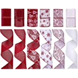 """SANNO Christmas Ribbon Assorted Snowflake Holly Sparkling Decorations Organza Ornaments Ribbons 36 Yards for Festival Florist Crafts Gift (2.5""""Wide x 3Yard Each) - Red / White"""