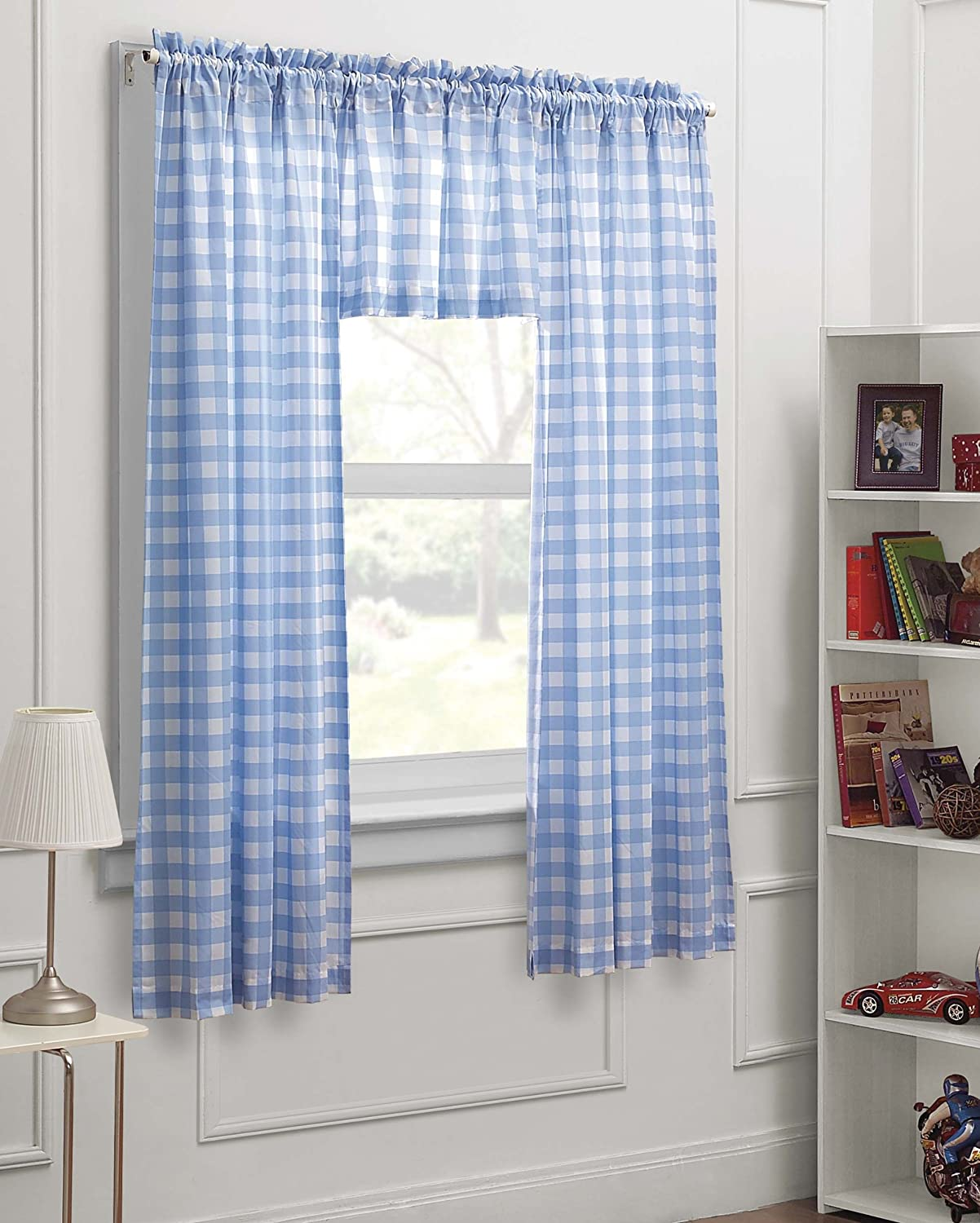Dream Factory Gingham Check 3-Piece Kids Bedroom Curtain Panel Set, Blue White