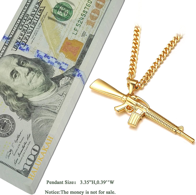 Halukakah ● Gang ● Le Pendentif Collier de lhomme en 18K Or V/éritable Dor/é M16 Pistolet avec La Multi Cut Cubaine Cha/îne Gratuit de 30