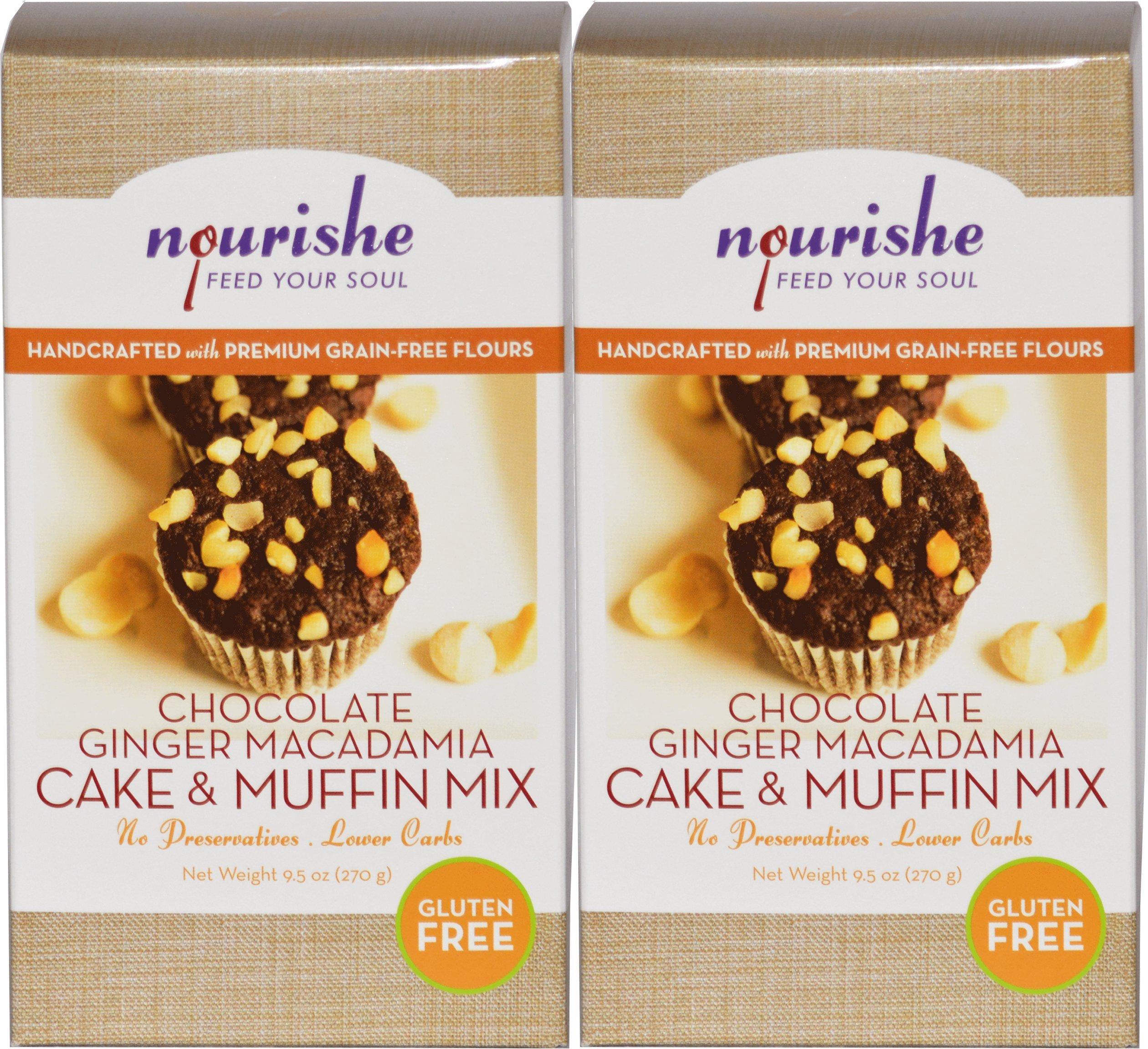 Nourishe Gluten & Grain Free Chocolate Ginger Macadamia Nut Muffin Mix - Twin Pak