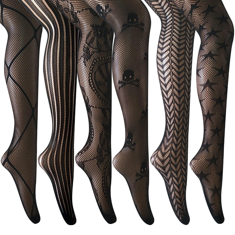 ANDIBEIQI 6 Pairs women Sexy Pantyhose Seamless Floral Fishnet Tights Nylon Stockings black