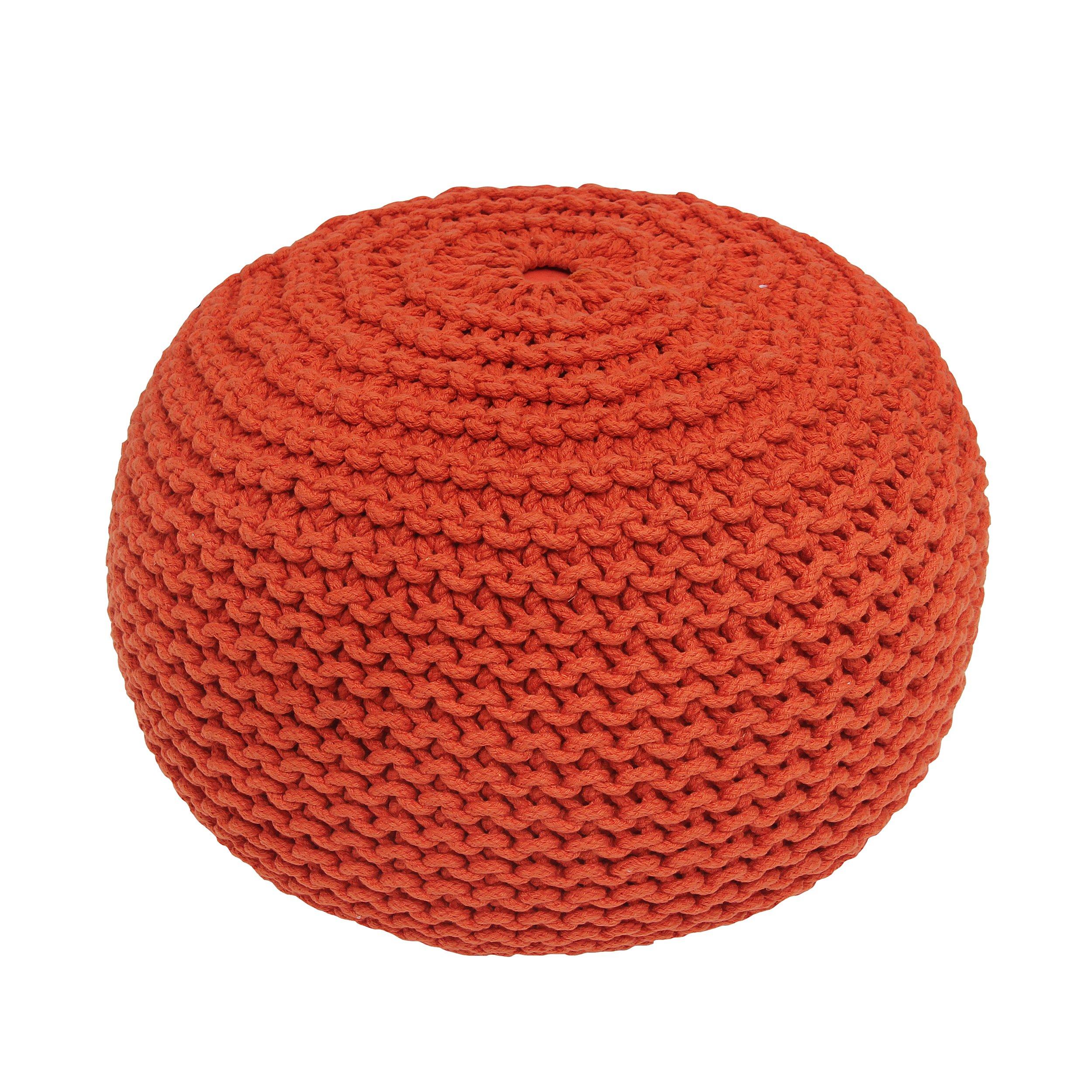 BrandWave Cotton Cover Round Pouf Ottomon/Seat - Elegantly Woven Hand Knit 100 Percent Cotton Cover - Soft Yet Sturdy Design - Orange - 18x18x18 (round)