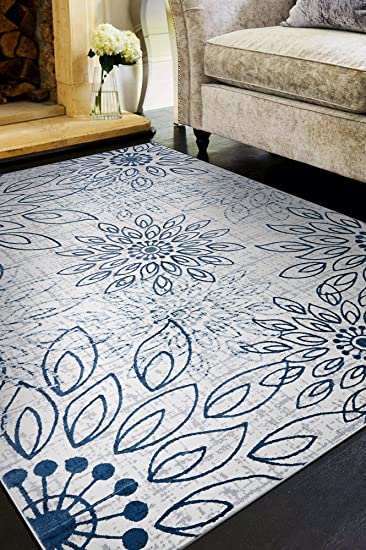 Amazon Com Couristan Calinda Summer Bliss Area Rug 9 2 X 12 5 Steel Blue Ivory Furniture Decor