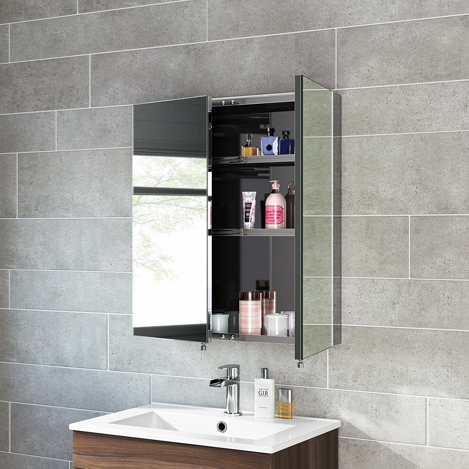 670 X 600 Stainless Steel Bathroom Mirror Cabinet Modern Double Door Storage Unit IBathUK Amazoncouk Kitchen Home