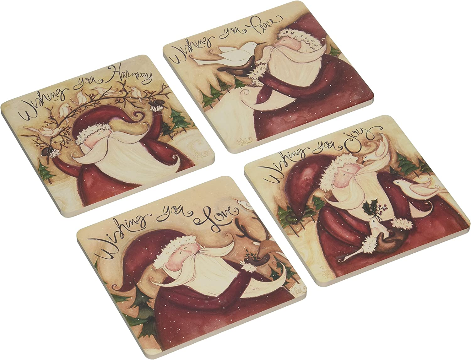 4-1//4-Inch,Holiday Wishes CoasterStone AS8765 Absorbent Coasters Set of 4 Holiday Wishes