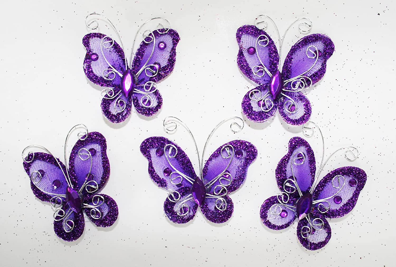 Amazon.com: Set of 20 pcs- Organza butterfly craft wedding party ...