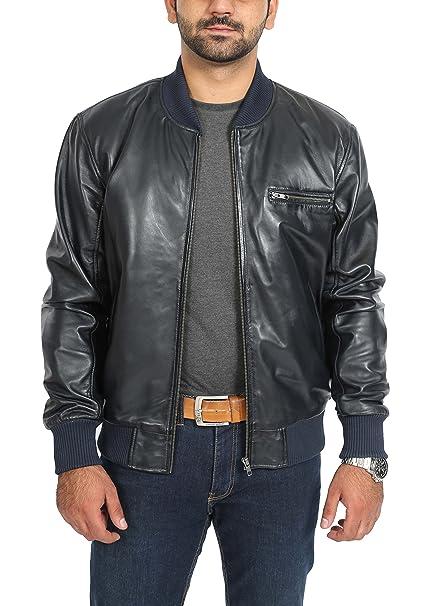 3108566f9a6 Mens Real Leather Varsity Bomber Baseball Sports Blouson Jacket Rob Navy  Blue (Small)