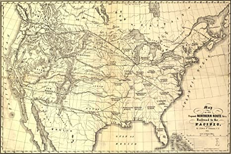 Amazon.com : 24x36 Poster; Map Proposed N Transcontinental ...