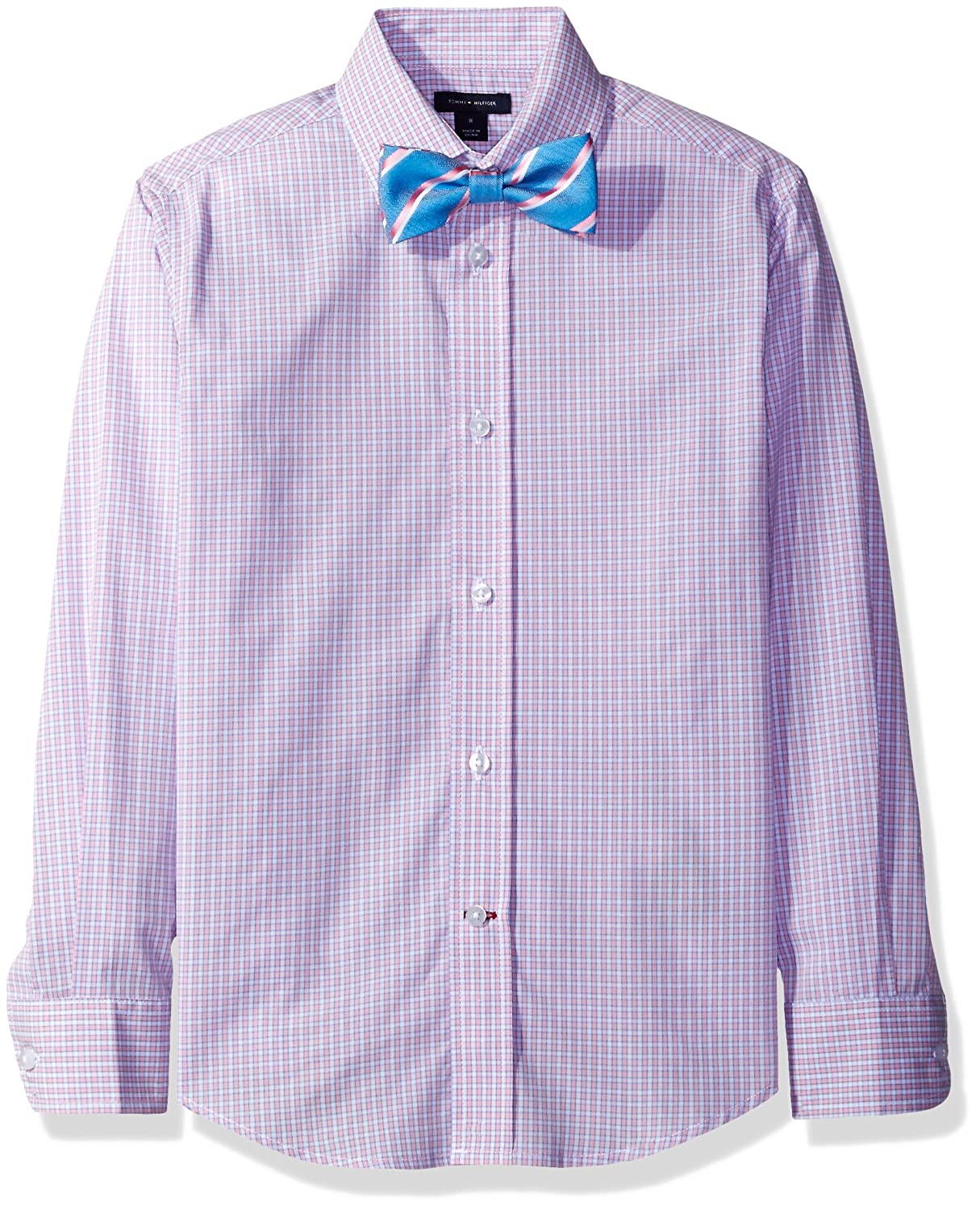 03b14c291da2 Amazon.com  Tommy Hilfiger Boys  Long Sleeve Mini Gingham Shirt with  Bowtie  Clothing
