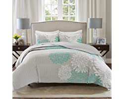 Comfort Spaces Enya Quilt Set - Casual Floral Print Channel Stitching Design, All Season, Lightweight Coverlet, Cozy Bedding,