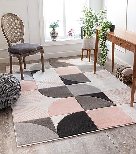 Well Woven Good Vibes Margot Blush Pink Modern Geometric Chevron 7 10 x 10 6 3D Texture Area Rug