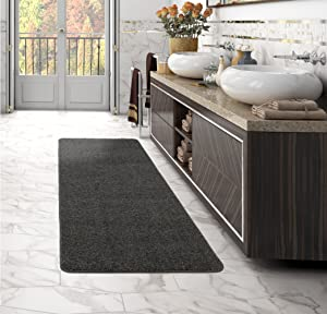 Sweethome Stores Luxury Collection Soft Solid Grey Shaggy Non-Slip (2' X 6') Shag Runner Rug