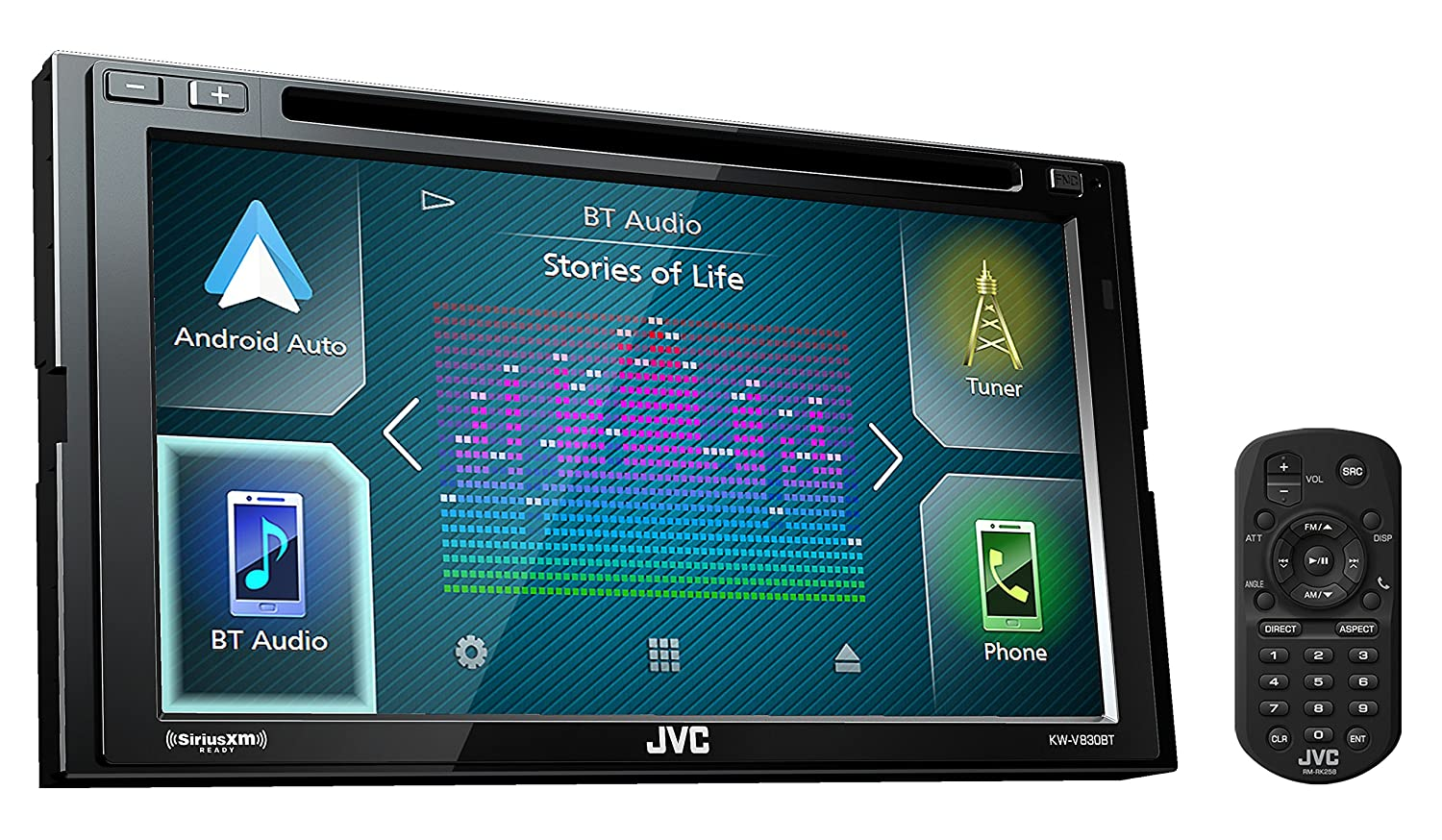 Amazon.com: JVC KW-V830BT Double DIN Bluetooth in-Dash DVD/CD/AM/FM ...