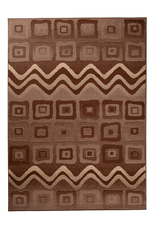 Tapiso Scarlet Teppich Kurzflor Indianer Teppiche mit Modern Zig Zag Viereck Vintage Muster in Braun Ideal für Wohnzimmer, Schlafzimmer ÖKOTEX 180 x 250 cm