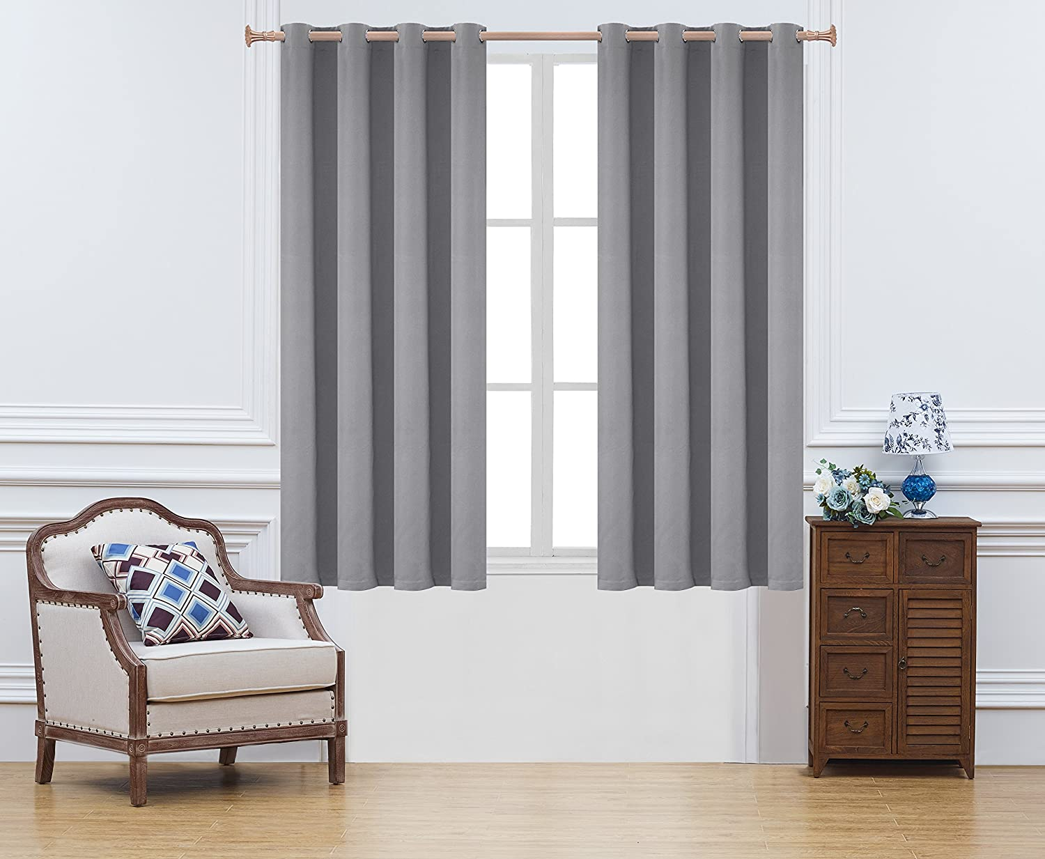 Onlyyou Window Grommet Thermal Blackout Curtain Drape Panel for Kids Bedroom Grey