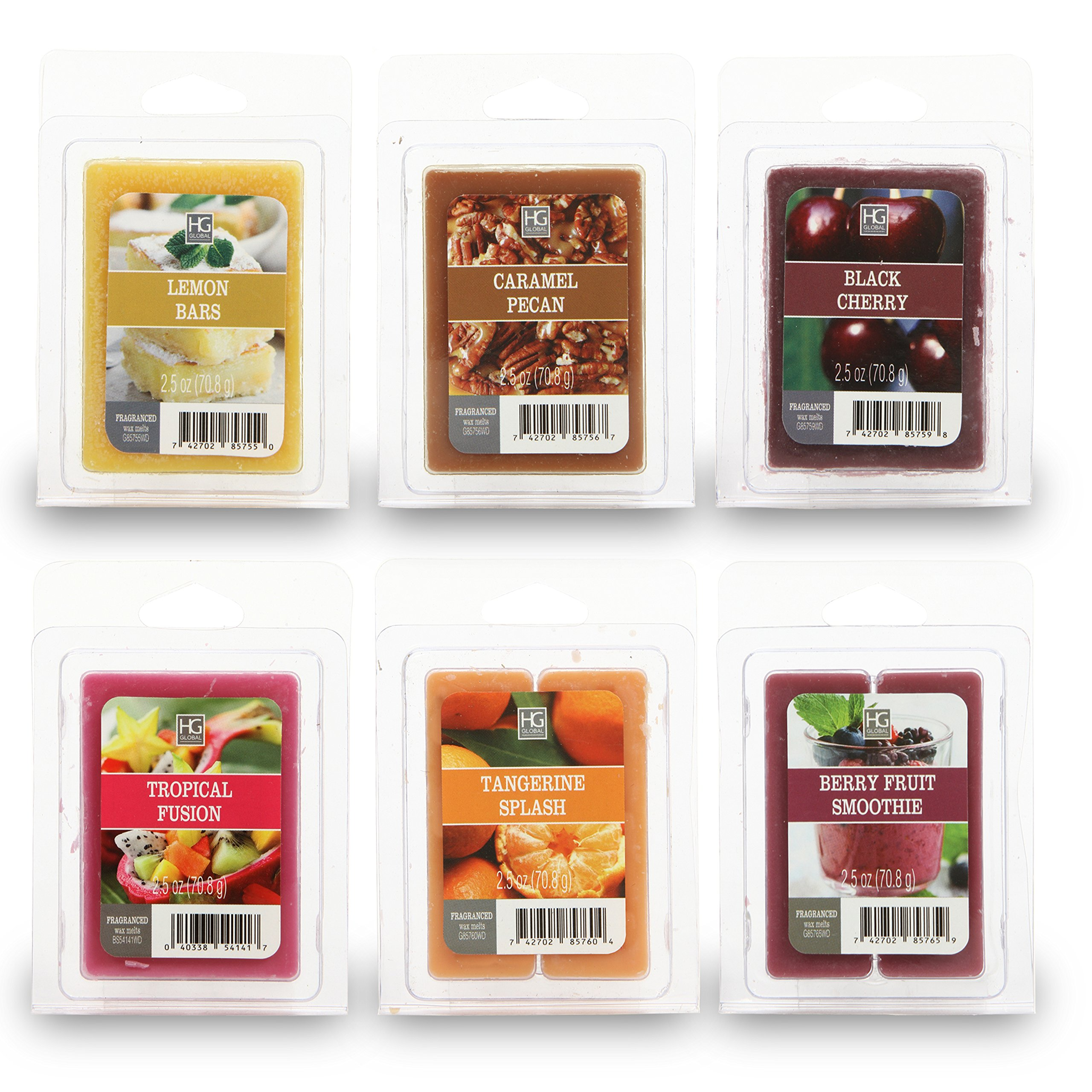 Hosley Set of 6 Assorted Wax Cubes/Melts - 2.5 oz Each. Tropical Fusion, Lemon Bars, Caramel Pecans, Black Cherry, Tangerine Splash, Fruit Smoothie. Infused with Essential Oils. Ideal Gift O5