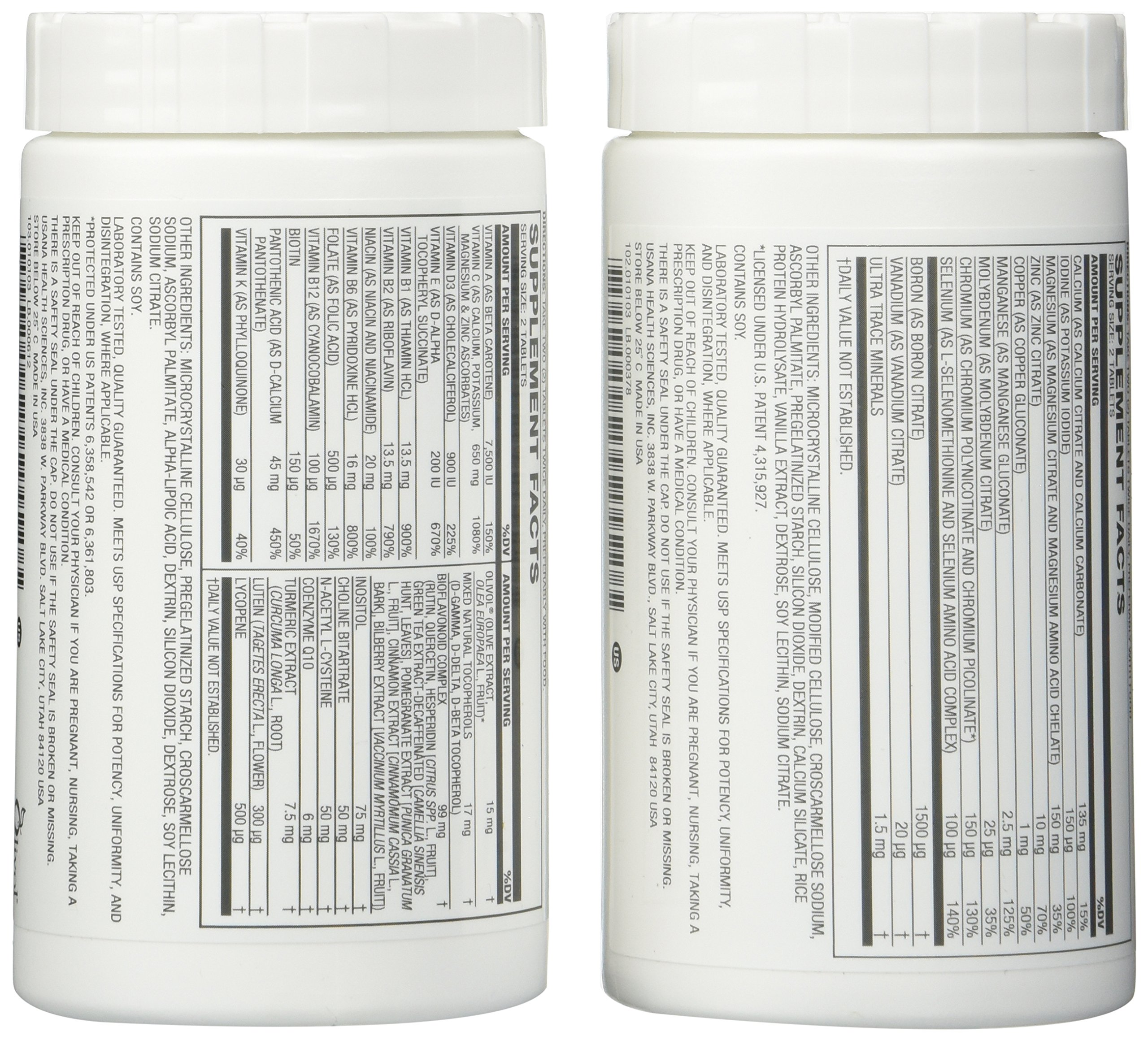 USANA triple action cellular nutrition system: Core Minerals and Vita Antioxidant 112 tablets/ each bottle by USANA