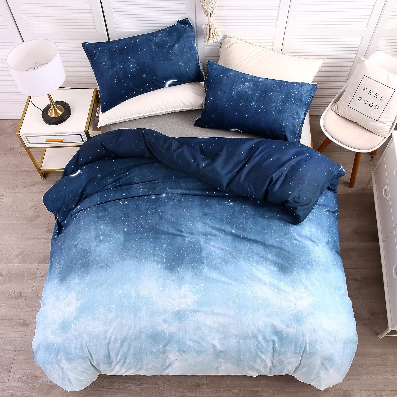 Blue Print Duvet Cover Set With Pillowcases Cotton Blend Reversible Bedding Set