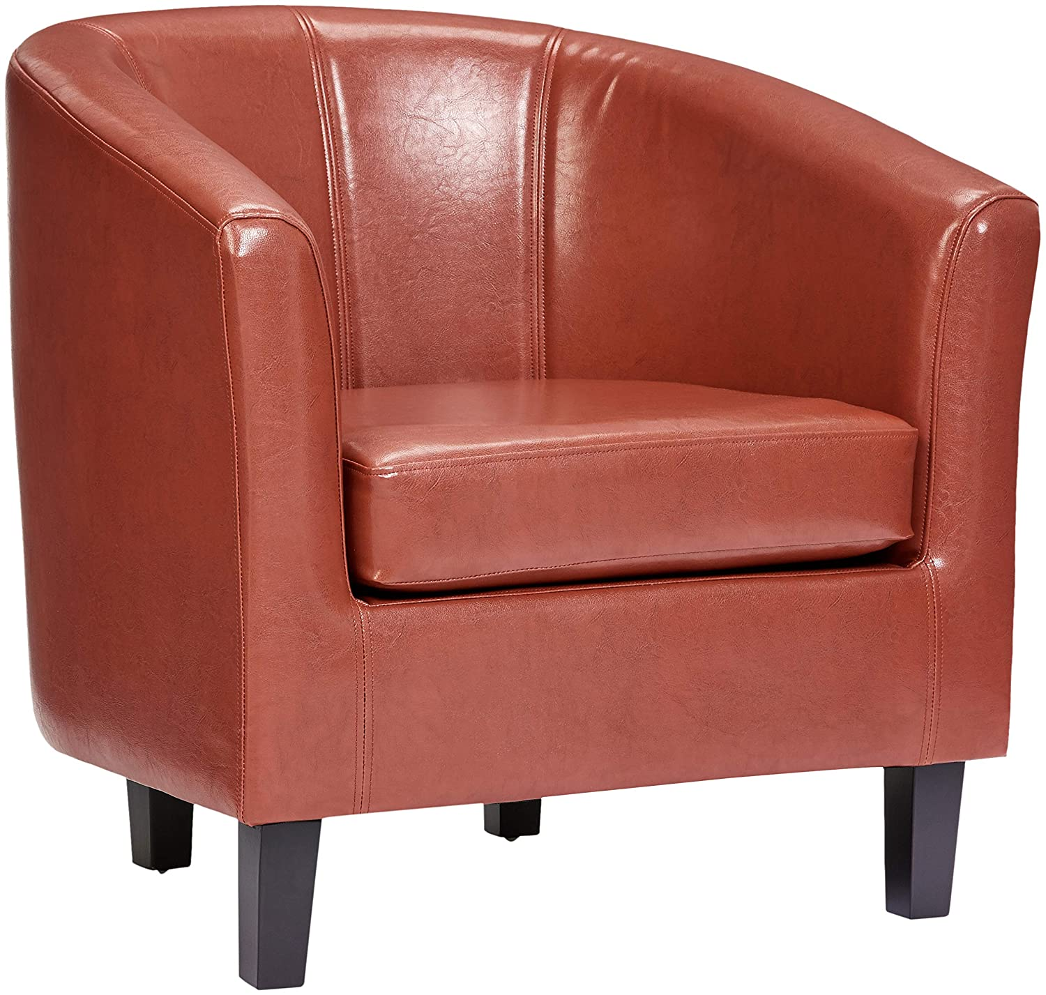 Red Red Hook Galia Faux-Leather Accent Tub Chair, Retro Red