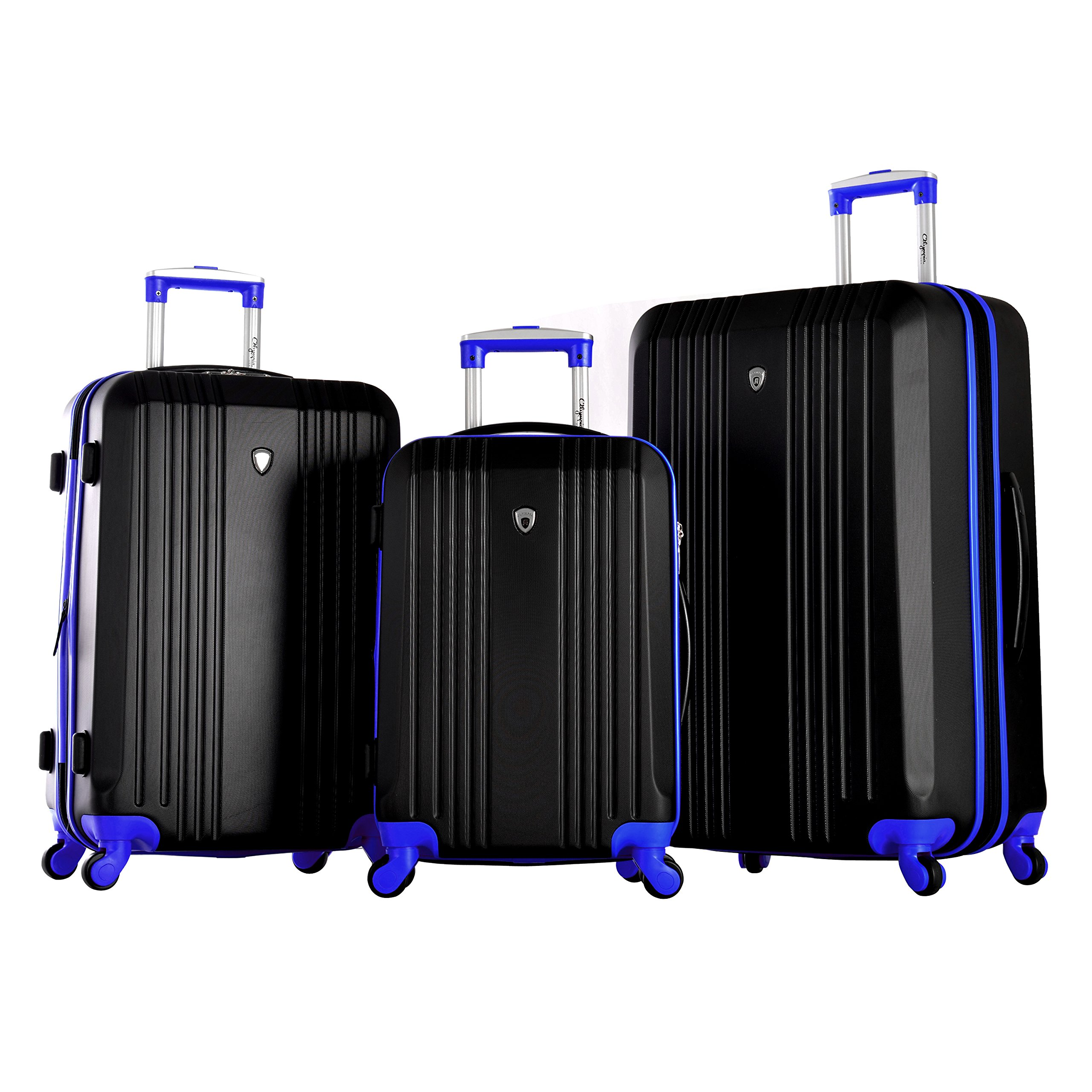 Olympia Apache 3pc Hardcase Spinner Luggage Set, Black/Blue
