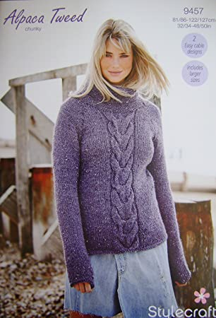 28067a6db Stylecraft Knitting Pattern 9457 - 2 ladies sweater designs in chunky sizes  32-50 quot