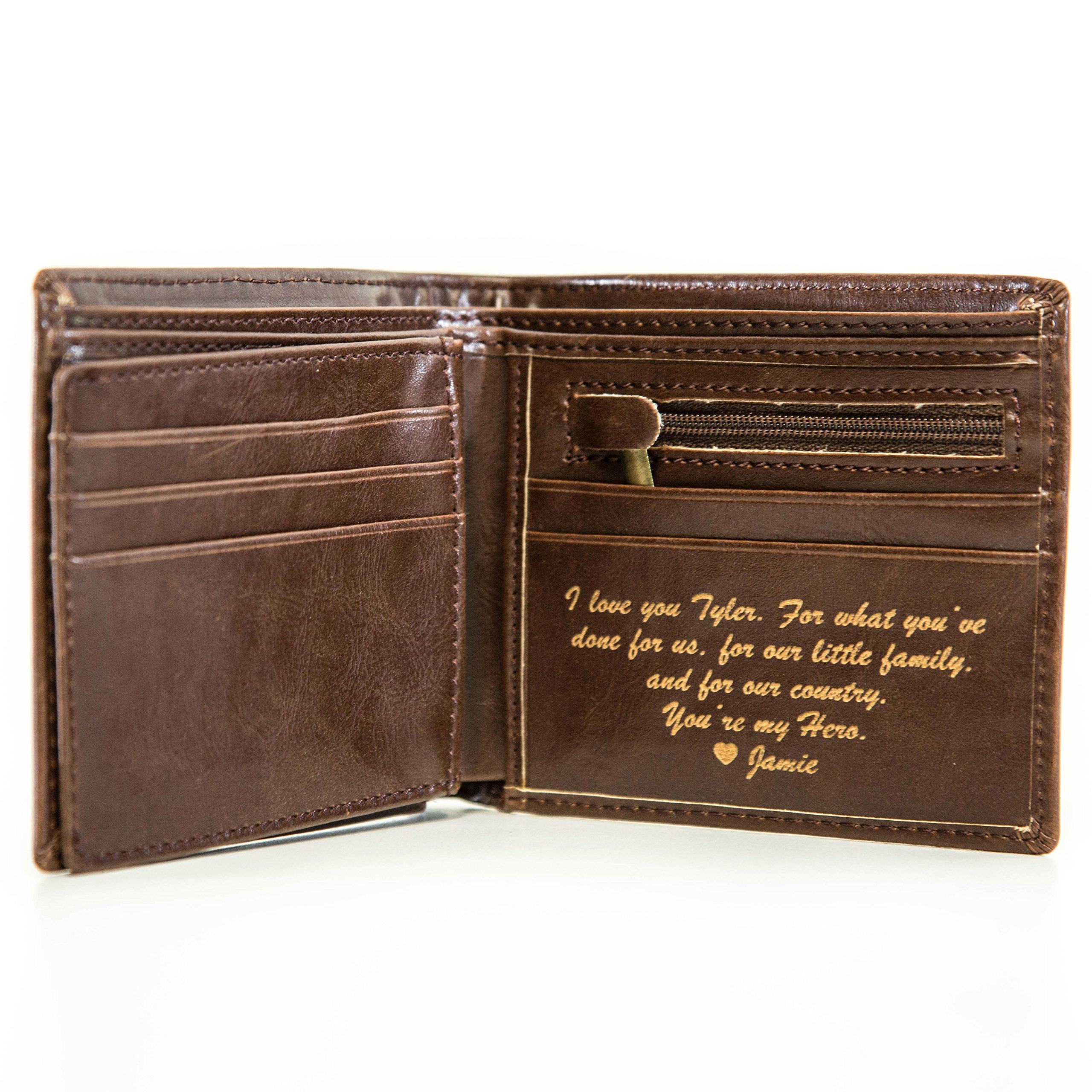 Personalized Mens Wallet - Leather Wallet, The Perfect Mens Gift, Boyfriend Gift, Father's Day Gift or Groomsmen Gift - Personalized Gifts for Men: a Bifold ...