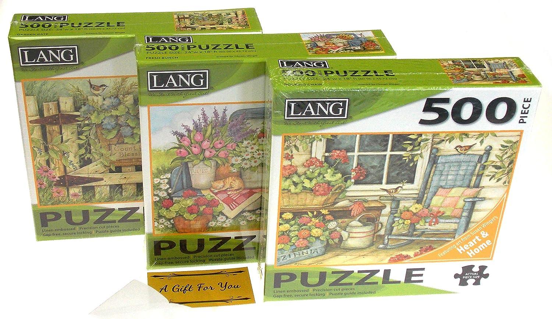 Lang 500 Piece Puzzle Bundle - Rocking Chair, Fresh Bunch & Garden Gate - Artwork by Susan Winget
