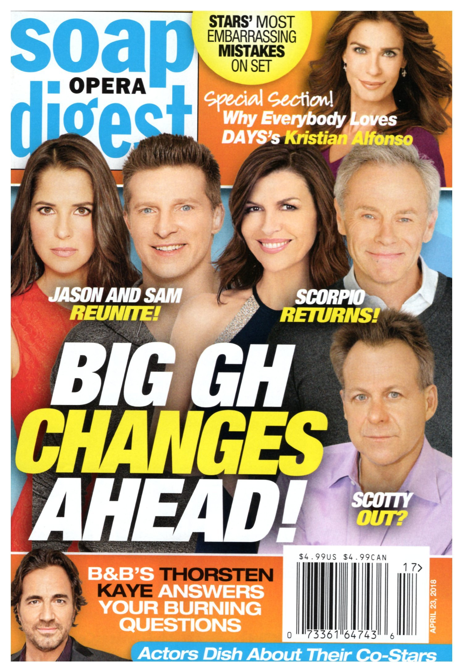Soap Opera Digest Magazine April 23 2018 Kelly Monaco Steve Burton Finola Hughes Tristan Rogers Kin Shriner General Hospital Kristian Alfonso Stephanie Sloane Mara Levinsky Amazon Com Books