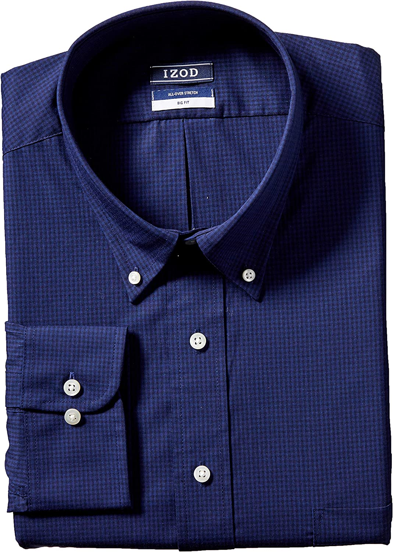 IZOD Mens BIG FIT Dress Shirt Stretch Check Big and Tall