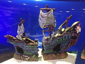 Mezzaluna Gifts Large Plane Wreck Ruin Fish Tank Aquarium Ornament