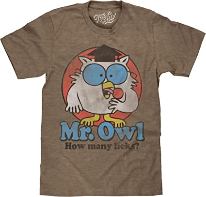 TOOTSIE ROLL MR OWL HOW MANY LICKS T-SHIRT HEATHER BROWN RETRO CANDY TEE MENS