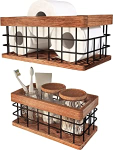 Small Wire and Wood Baskets Set of 2 - Wooden Storage Boxes for Farmhouse, Bathroom Decor, Toilet Paper Storage, Rustic Bathroom Decor, Bathroom Signs (Walnut, Medium) - New Home Gift