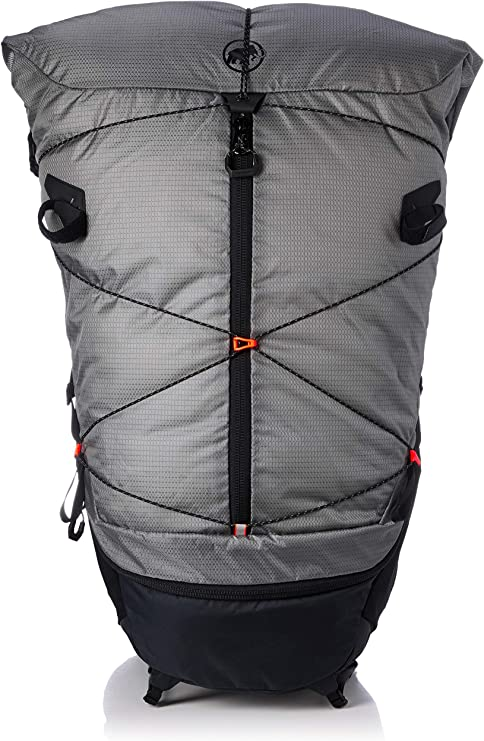This is an image of a backpacking bag in gray color with zipper for women.