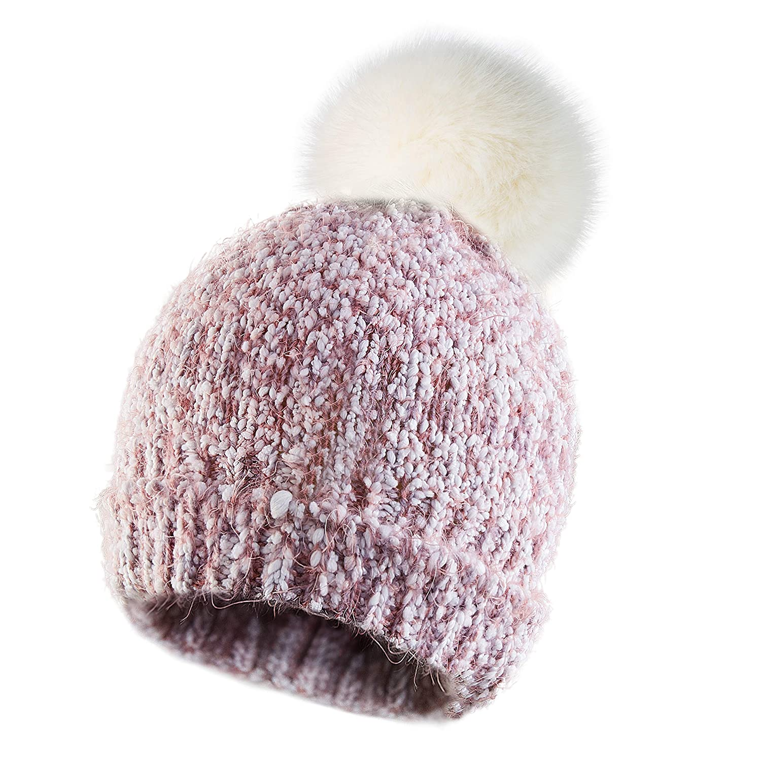 ce1cb458edb Calixto Bellísimo Women Knitted Hat Pom Pom Beanie Hats Winter Ski Cap Warm  Girl with Fur Pompoms Chunky Soft Cable Knit at Amazon Women s Clothing  store