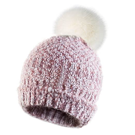 Calixto Bellísimo Women Knitted Hat Pom Pom Beanie Hats Winter Ski Cap Warm  Girl with Fur Pompoms Chunky Soft Cable Knit at Amazon Women s Clothing  store  dd9922b61af