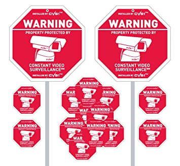2 Security Camera Yard Signs with 11 matching static cling decals plus one alarm decal!