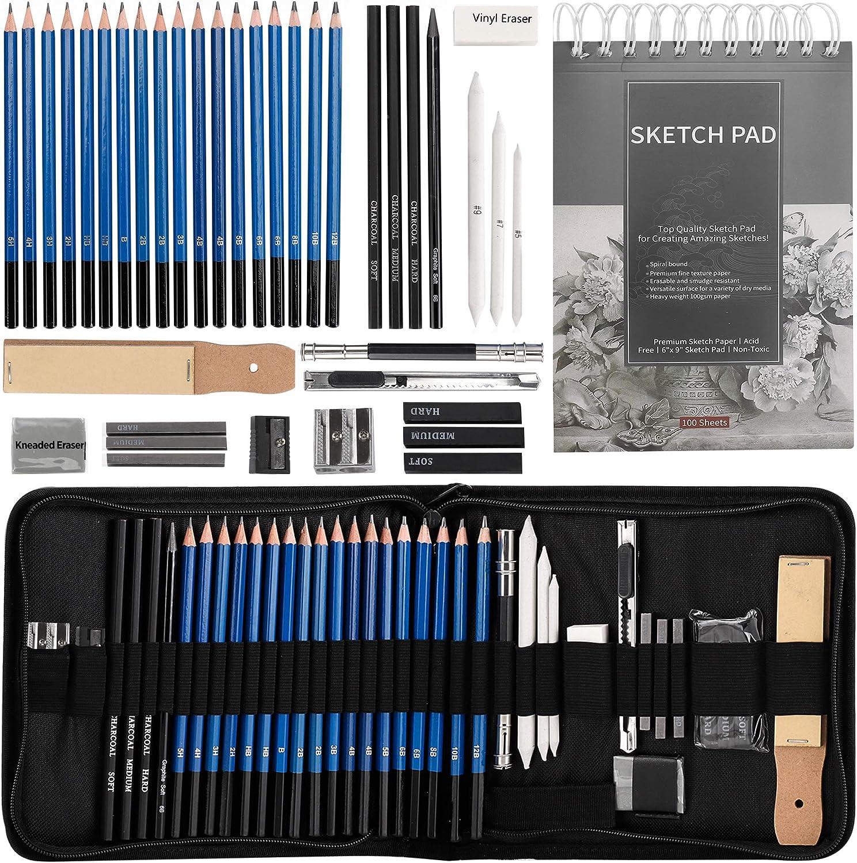 New 40Pcss Sketching Drawing Pencils Kit Set Art Supplies