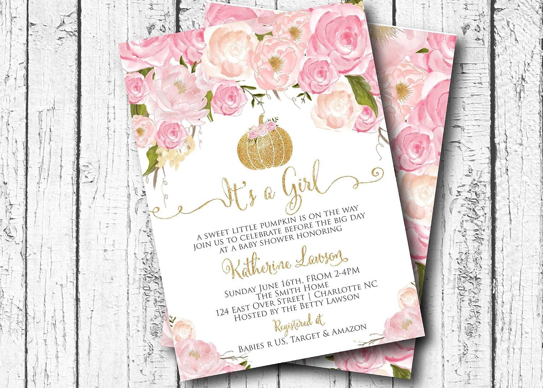 Amazon Com Pink Pumpkin Baby Shower Invitation Gold Autumn Baby Shower Invitations Rustic Baby Shower Invitation Girl Baby Shower Invitation 5x7 Handmade