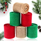 6 Rolls Burlap Craft Ribbon Colored Natural Ribbon Burlap Ribbon for Christmas DIY Handmade Crafts Gift Wrapping Party…