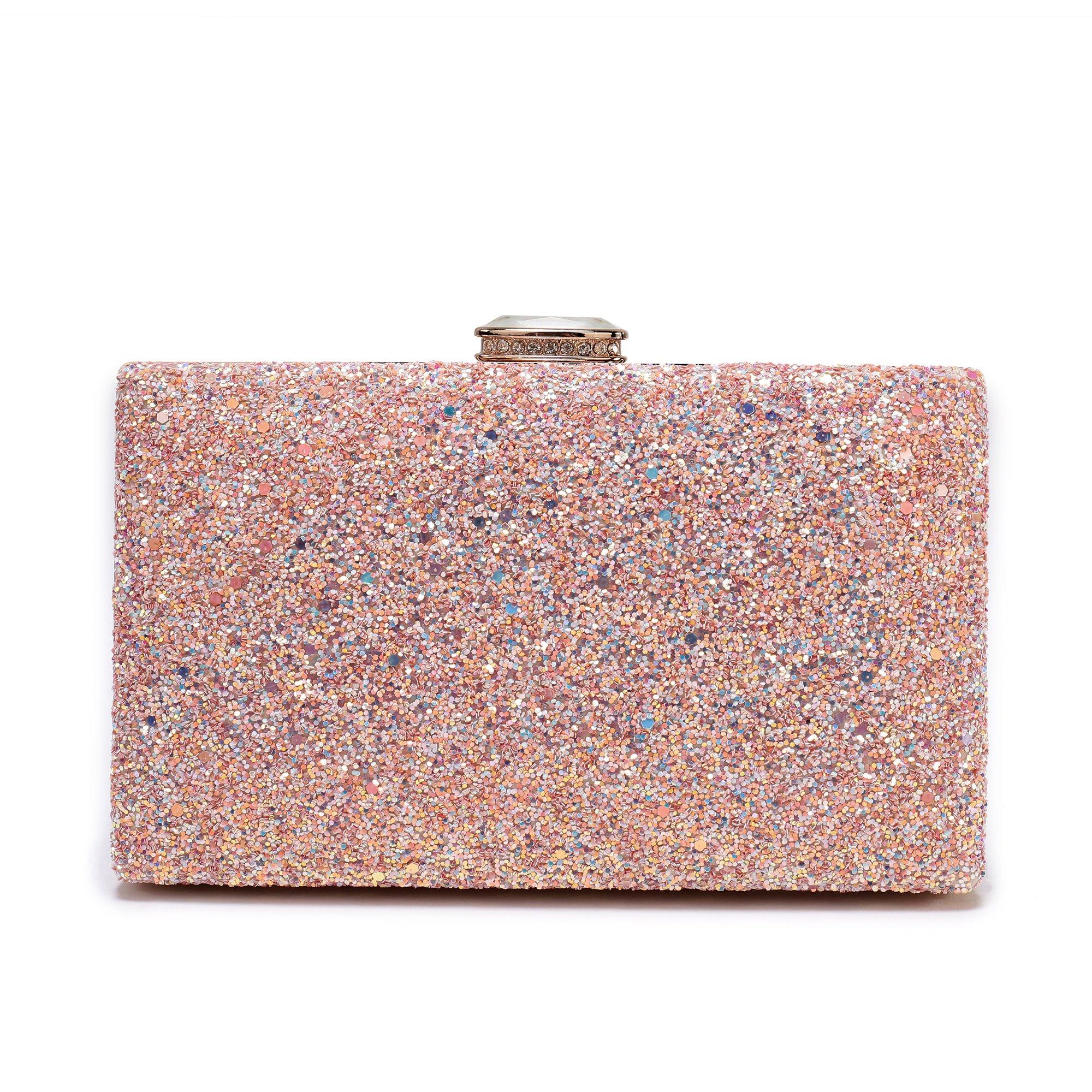 Women's Elegant Sparkling Glitter Evening Clutch Bags BlingEvening Handbag Purses For Wedding Prom Bride(Pink)